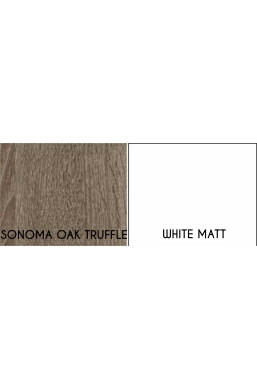145cm CHEST OF DRAWERS 'MEDIOLAN' SONOMA OAK TRUFFLE AND WHITE MATT