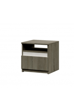 BEDSIDE TABLE 'MEDIOLAN' SONOMA OAK TRUFFLE AND WHITE MATT