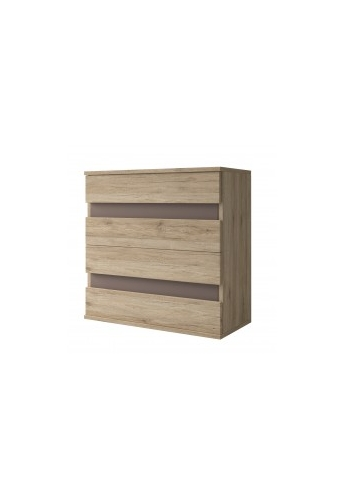 90cm CHEST OF DRAWERS 'MEDIOLAN' SONOMA OAK AND BROWN ELEMENTS