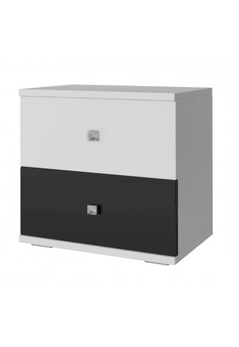 BEDSIDE TABLE 'ROMA' WHITE AND BLACK GLOSS