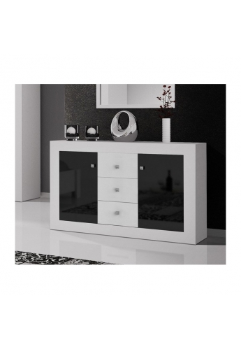 CHEST OF DRAWERS 'ROMA' WHITE AND BLACK GLOSS