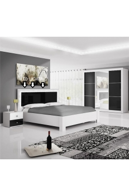 FURNITURE SET 'ROMA' WHITE AND BLACK GLOSS - WARDROBE + BEDSIDE TABLE + BED