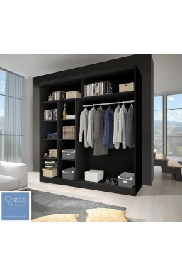 204cm SLIDING DOOR WARDROBE 'TORINO ZEBRA' BLACK AND WHITE