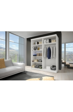 183cm 2 SLIDING DOOR WARDROBE F02 WHITE SIDES
