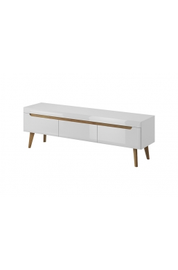 RTV STAND 'NORDI' WHITE GLOSS WITH OAK FEETS