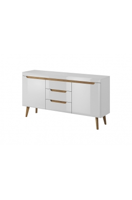 160cm CHEST OF DRAWERS 'NORDI' WHITE GLOSS WITH OAK FEETS