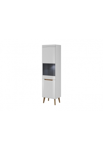 53cm BOOKSTAND WITH GLASS 'NORDI' WHITE GLOSS WITH OAK FEETS