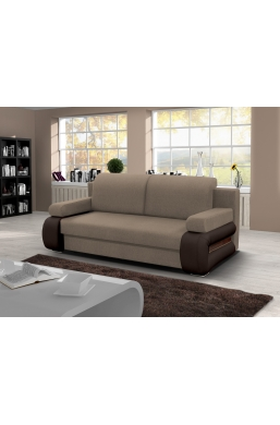 205cm SOFA 'GLORIA' BROWN WITH PVC LEATHER