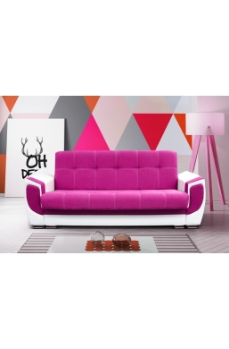 237cm SOFA 'DELUX' PINK WITH WHITE PVC LEATHER