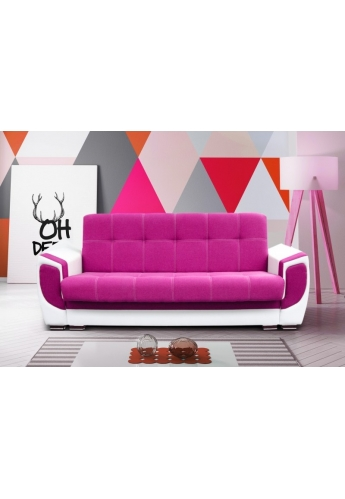 MODERN 237cm SOFA \'DELUX\' PINK WITH WHITE PVC LEATHER