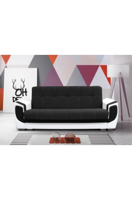 237cm SOFA 'DELUX' BLACK WITH WHITE PVC LEATHER