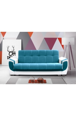 237cm SOFA 'DELUX' BLUE WITH WHITE PVC LEATHER