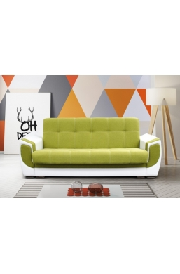 237cm SOFA 'DELUX' GREEN WITH WHITE PVC LEATHER