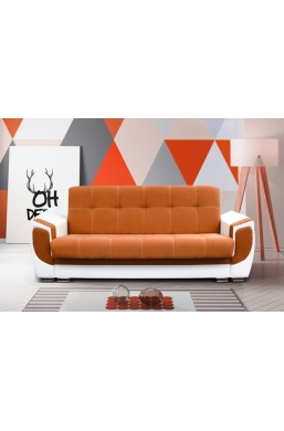 237cm SOFA 'DELUX' ORANGE WITH WHITE PVC LEATHER