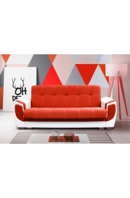 237cm SOFA 'DELUX' RED WITH WHITE PVC LEATHER