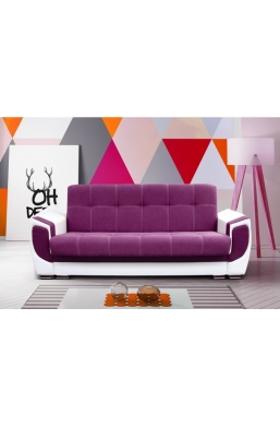237cm SOFA 'DELUX' PURPLE WITH WHITE PVC LEATHER