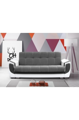 237cm SOFA 'DELUX' DARK GRAY WITH WHITE PVC LEATHER