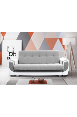 237cm SOFA 'DELUX' LIGHT GRAY WITH WHITE PVC LEATHER
