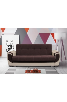 237cm SOFA 'DELUX' BROWN WITH BEIGE PVC LEATHER