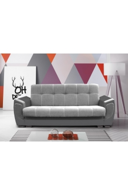 237cm SOFA 'DELUX' LIGHT GRAY WITH DARK GRAY PVC LEATHER