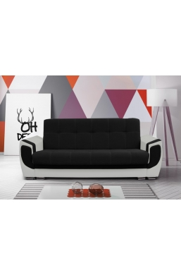 237cm SOFA 'DELUX' BLACK WITH GRAY PVC LEATHER