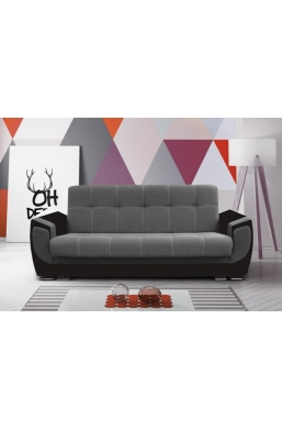237cm SOFA 'DELUX' GRAY WITH BROWN PVC LEATHER