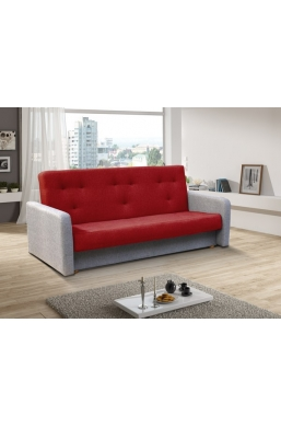 202cm SOFA 'KASIA' RED WITH LIGHT GRAY SIDES
