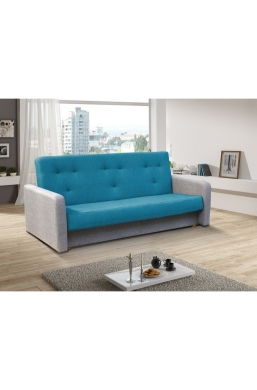 202cm SOFA 'KASIA' BLUE WITH LIGHT GRAY SIDES