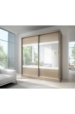 203cm SLIDING DOOR WARDROBE 'MULTI 12' SONOMA OAK WITH WHITE STRIPES AND MIRROR