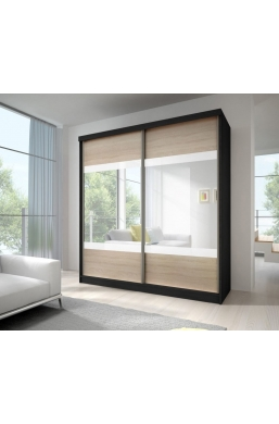 203cm SLIDING DOOR WARDROBE 'MULTI 12' BLACK WITH SONOMA OAK WITH WHITE STRIPES AND MIRROR