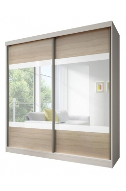 203cm SLIDING DOOR WARDROBE 'MULTI 12' WHITE WITH SONOMA OAK, WHITE STRIPES AND MIRROR
