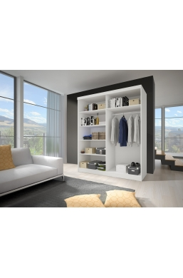 120cm SLIDING DOOR WARDROBE 'DELTA' WHITE WITH MIRROR