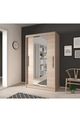 120cm SLIDING DOOR WARDROBE 'DELTA' SONOMA OAK WITH MIRROR