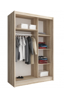 130cm SLIDING DOOR WARDROBE 'MAJA' SONOMA OAK AND TWO MIRRORS