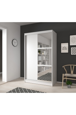 120cm SLIDING DOOR WARDROBE 'NOEMI 02' WHITE WITH THREE MIRRORS