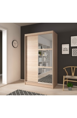120cm SLIDING DOOR WARDROBE 'NOEMI 02' SONOMA OAK WITH THREE MIRRORS