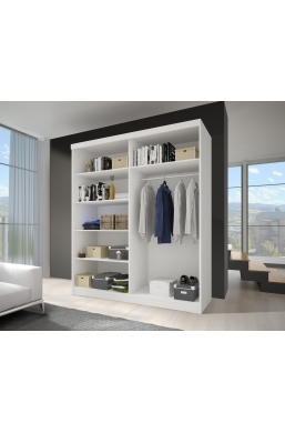 120cm SLIDING DOOR WARDROBE 'NOEMI 02' SONOMA OAK AND WHITE WITH THREE MIRRORS