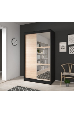 120cm SLIDING DOOR WARDROBE 'NOEMI 02' BLACK AND SONOMA OAK WITH THREE MIRRORS