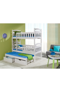 190cm TRIPLE BUNK BED 'DOMINIC III' WITH PULL-OUT BED AND DRAWERS