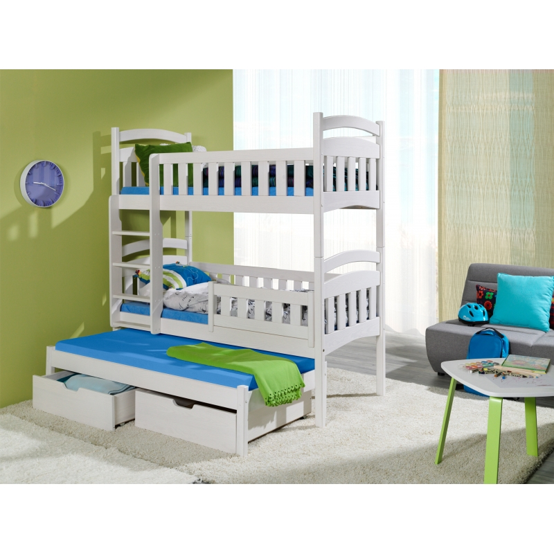 Brand New Triple Bunk Bed Dominic Iii With Pull Out Bed And Drawers