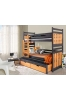 190cm TRIPLE BUNK BED 'SAMBOR' WITH PULL-OUT BED AND DRAWERS GRAPHITE AND CAPRI
