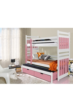 190cm TRIPLE BUNK BED 'SAMBOR' WITH PULL-OUT BED AND DRAWERS WHITE AND PINK ACRYLIC