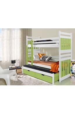 190cm TRIPLE BUNK BED 'SAMBOR' WITH PULL-OUT BED AND DRAWERS WHITE AND CELADON