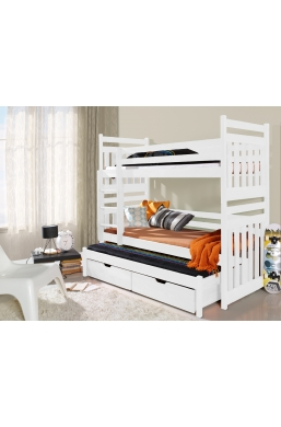 190cm TRIPLE BUNK BED 'SAMBOR' WITH PULL-OUT BED AND DRAWERS WHITE