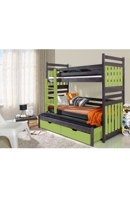 190cm TRIPLE BUNK BED 'SAMBOR' WITH PULL-OUT BED AND DRAWERS WENGE AND CELADON