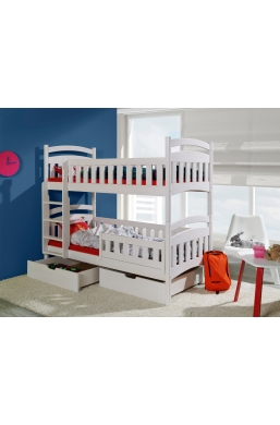 190cm DOUBLE BUNK BED 'DOMINIC II' WHITE WITH DRAWERS