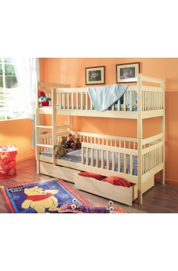 190cm DOUBLE BUNK BED 'ALEKSANDER' NATURAL PINE WITH DRAWERS