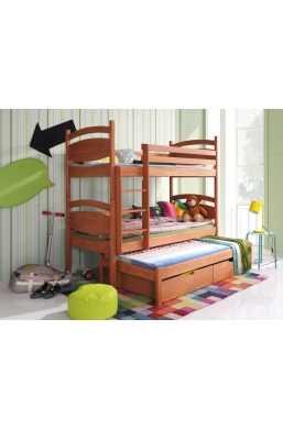 190cm TRIPLE BUNK BED 'CEZAR' WITH PULL-OUT BED AND DRAWERS PINE WOOD - ALDER COLOUR