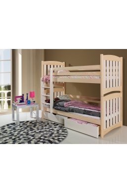 190cm DOUBLE BUNK BED 'SERAFIN' NATURAL PINE WITH DRAWERS
