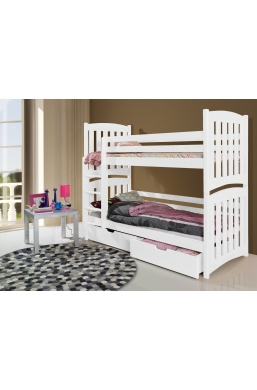 190cm DOUBLE PINE BUNK BED 'SERAFIN' WHITE WITH DRAWERS
